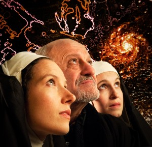 Photo by Lee Wexler with David Little as Galileo, Marnye Young as Suor Maria Celeste, and Elisa Matula as Suor Arcangela